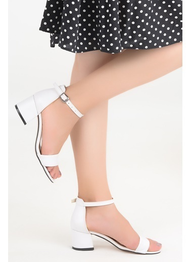 Ayakland Ayakland Bsm 62-5 Cilt 5 Cm Topuk Bayan Sandalet Ayakkabı Beyaz